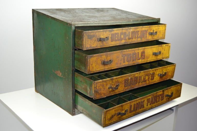 1930s Metal Garage Toolbox Cabinet with 4 drawers at 1stDibs