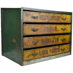 1930s Metal Garage Toolbox Cabinet with 4 drawers