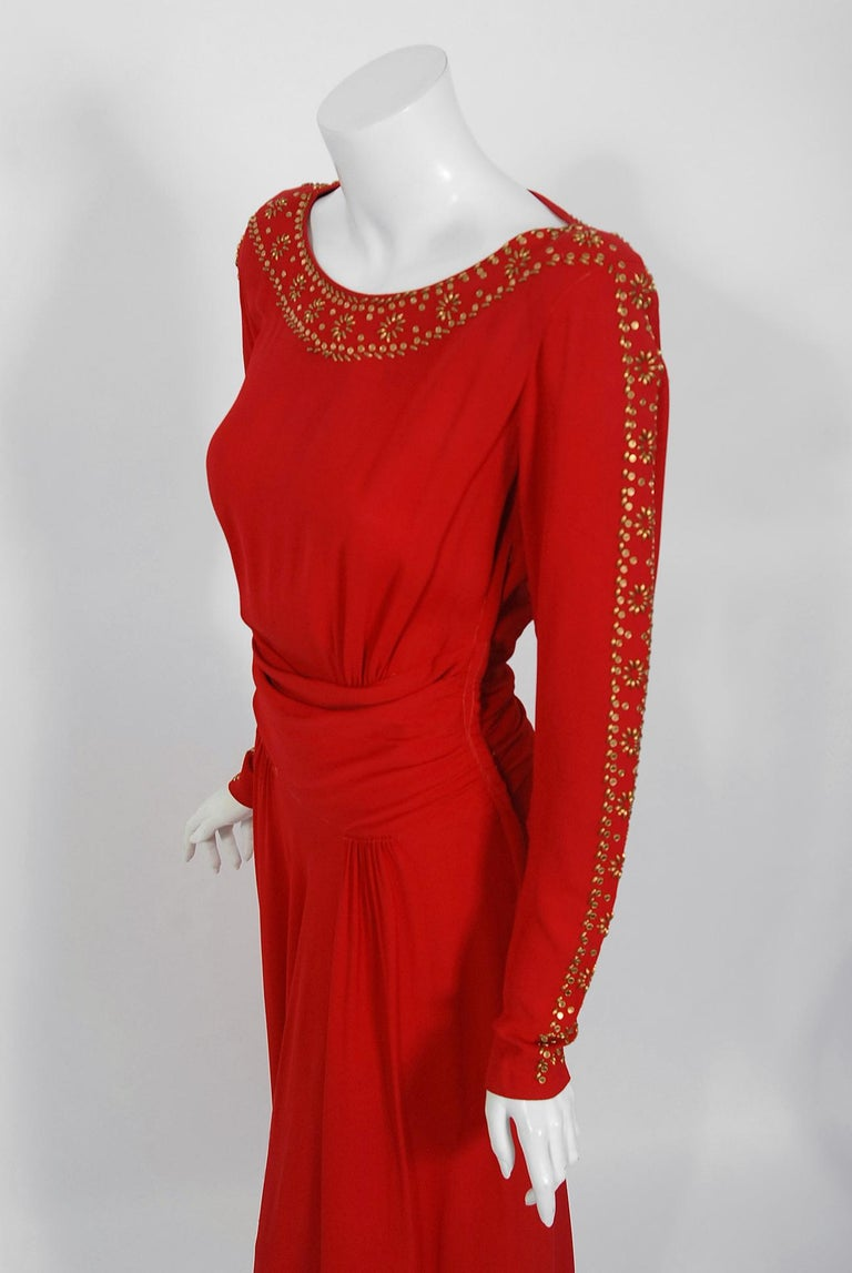 1930's Metallic Gold Studded Red Crepe Long-Sleeve Draped Couture Gown   In Good Condition For Sale In Beverly Hills, CA
