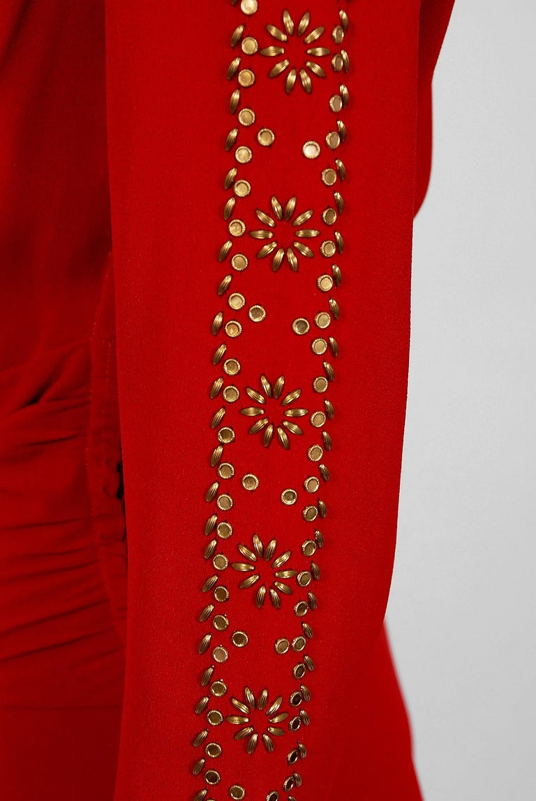 Women's 1930's Metallic Gold Studded Red Crepe Long-Sleeve Draped Couture Gown   For Sale