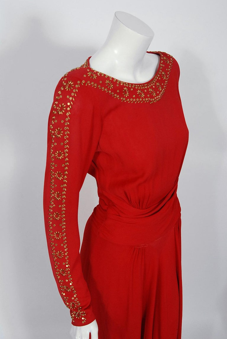 1930's Metallic Gold Studded Red Crepe Long-Sleeve Draped Couture Gown   For Sale 1