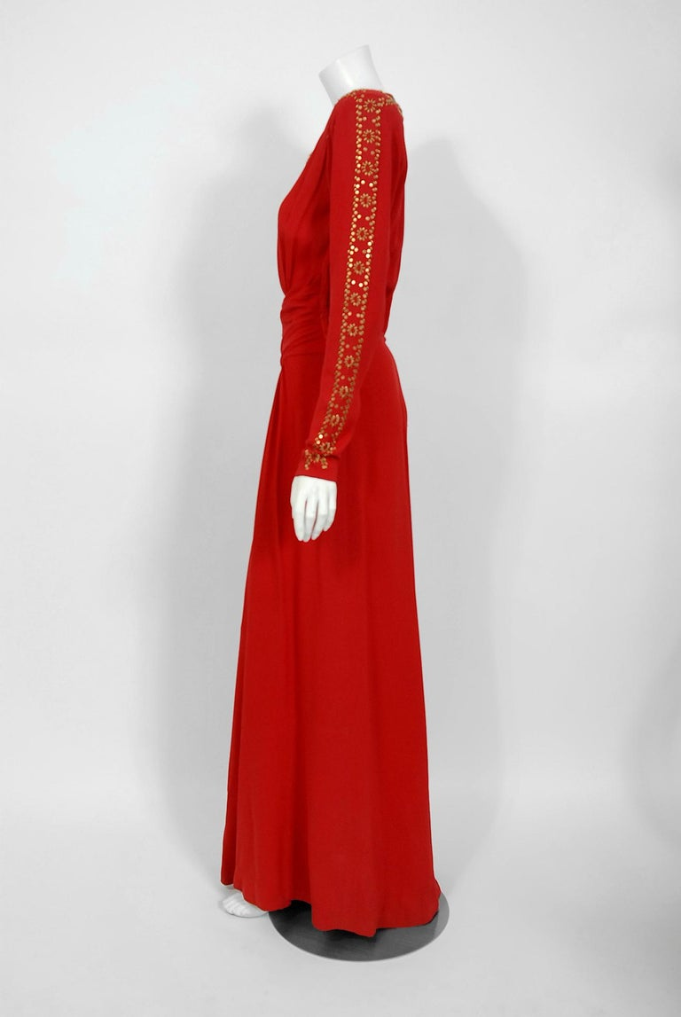 1930's Metallic Gold Studded Red Crepe Long-Sleeve Draped Couture Gown   For Sale 2