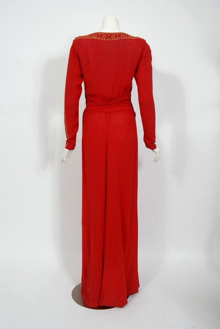 1930's Metallic Gold Studded Red Crepe Long-Sleeve Draped Couture Gown   For Sale 4
