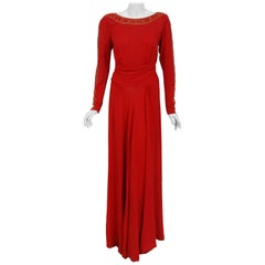 1930's Metallic Gold Studded Red Crepe Long-Sleeve Draped Couture Gown