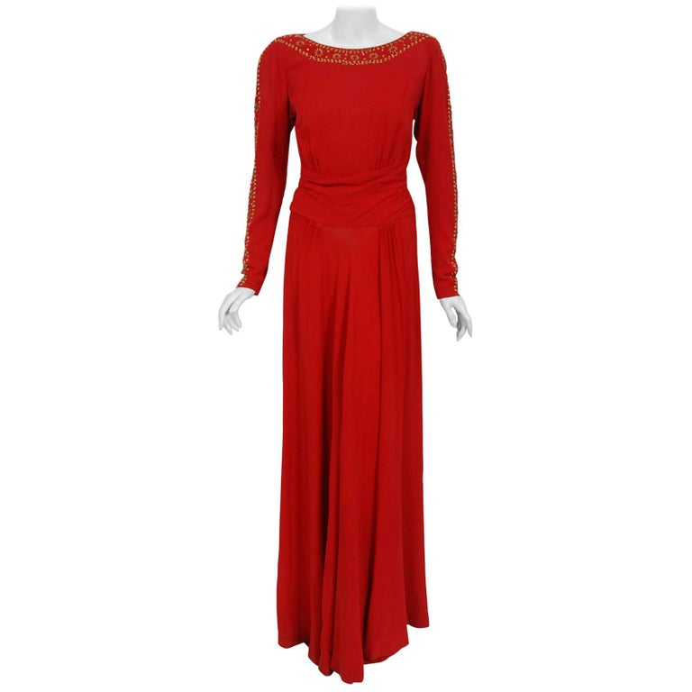 1930's Metallic Gold Studded Red Crepe Long-Sleeve Draped Couture Gown   For Sale