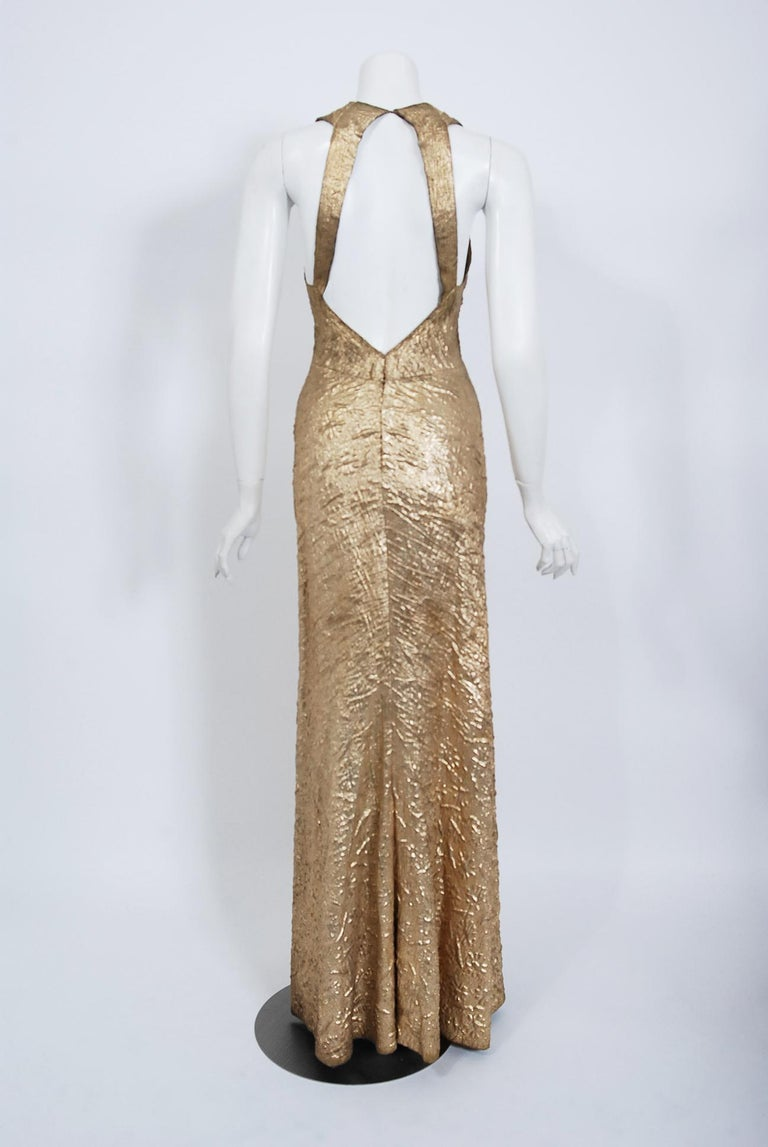 1930's Metallic Gold Textured Lamé Backless Bias-Cut Couture Evening Gown For Sale 2