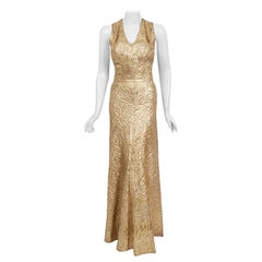 1930's Metallic Gold Textured Lamé Backless Bias-Cut Couture Evening Gown