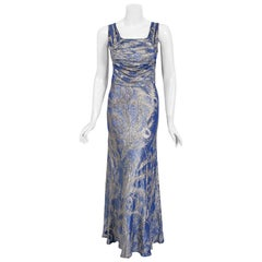 1930's Metallic Peacock Print Novelty Blue Lamé Ruched Bias-Cut Evening Gown