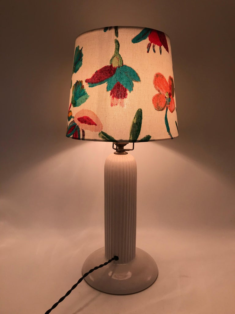 1930s Michael Andersen Ceramic Table Lamp with an ArtbyMaj Lampshade 3