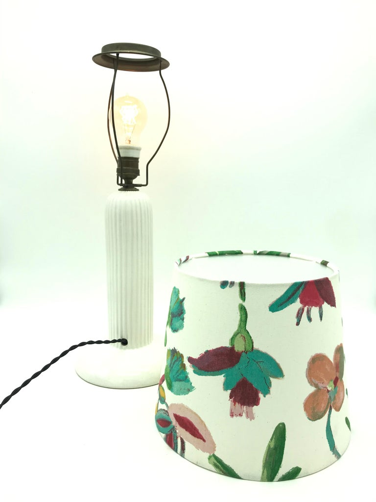 1930s Michael Andersen Ceramic Table Lamp with an ArtbyMaj Lampshade 5