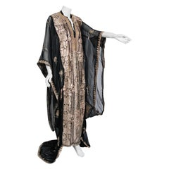 1930's Middle Eastern Couture Metallic Gold Embroidered Black Chiffon Caftan