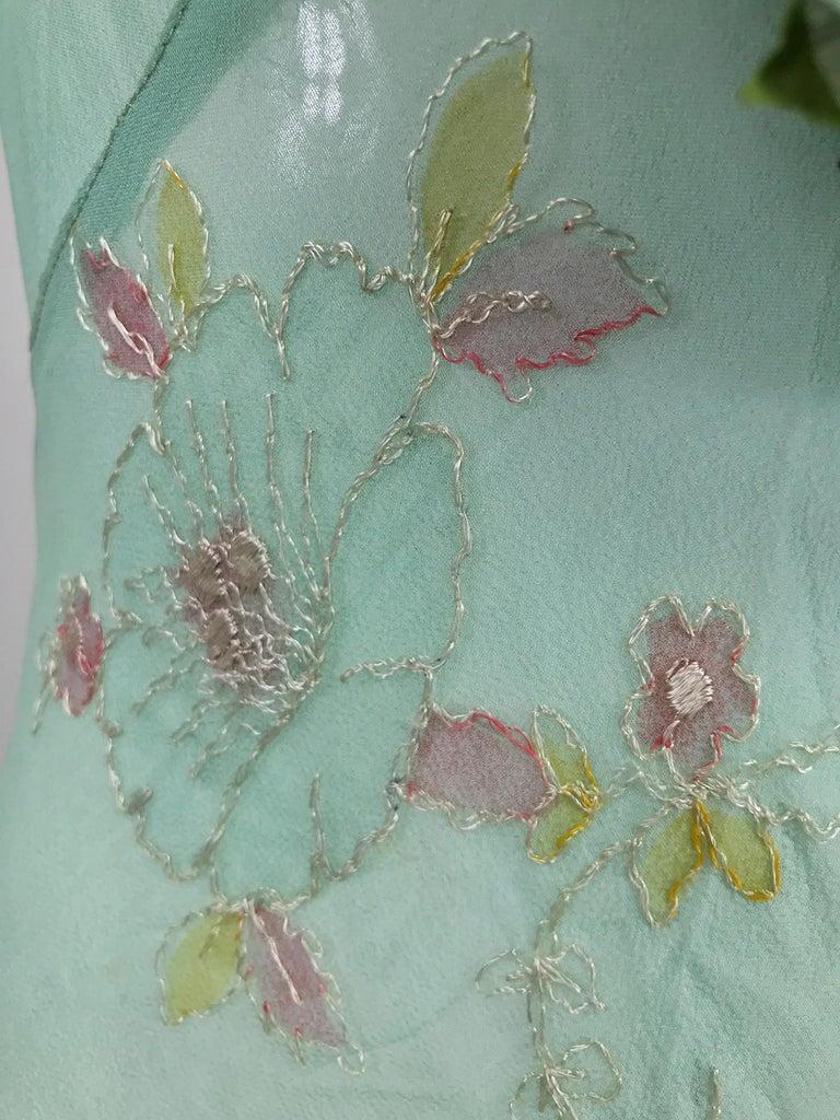 1930s Mint Green Sheer Silk Chiffon Hand Embroidered Bias Cut Maxi Dress Vintage 5