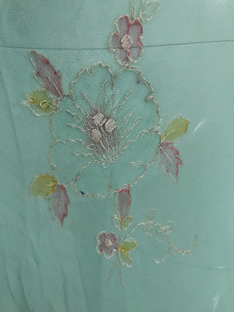 1930s Mint Green Sheer Silk Chiffon Hand Embroidered Bias Cut Maxi Dress Vintage 6