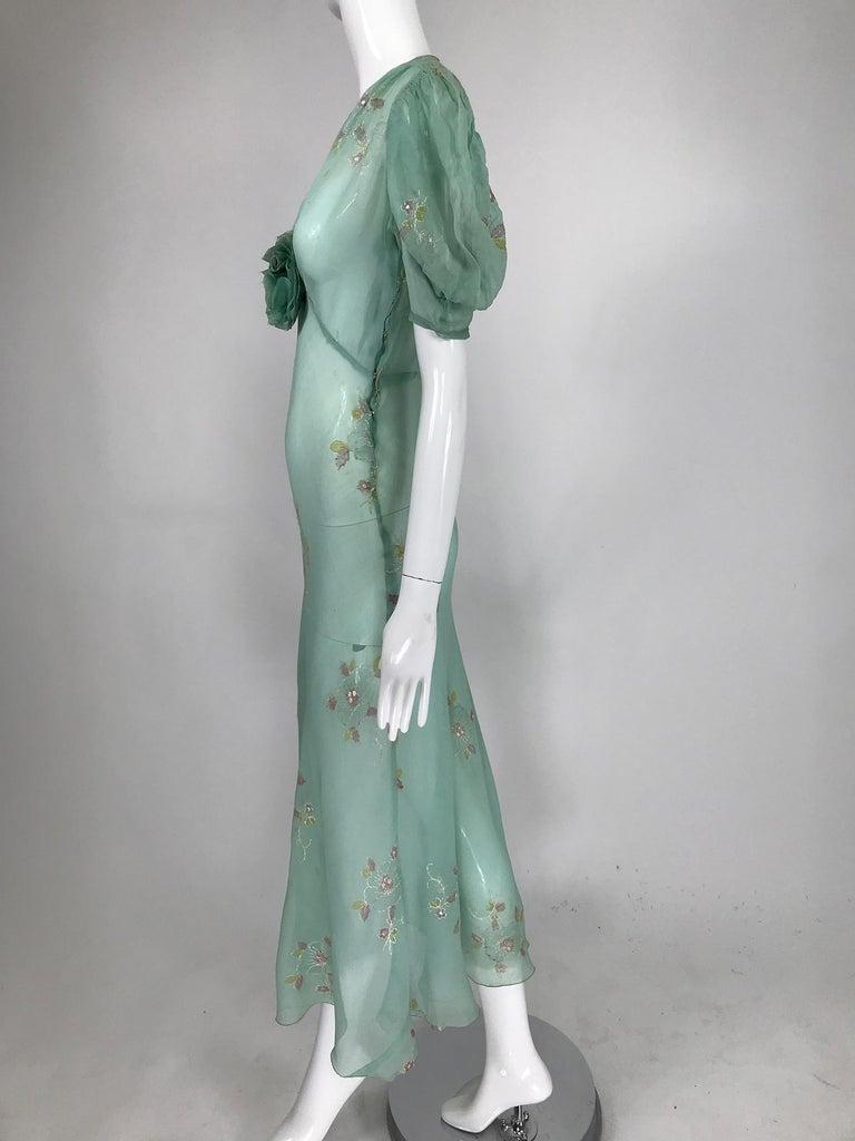 Gray 1930s Mint Green Sheer Silk Chiffon Hand Embroidered Bias Cut Maxi Dress Vintage
