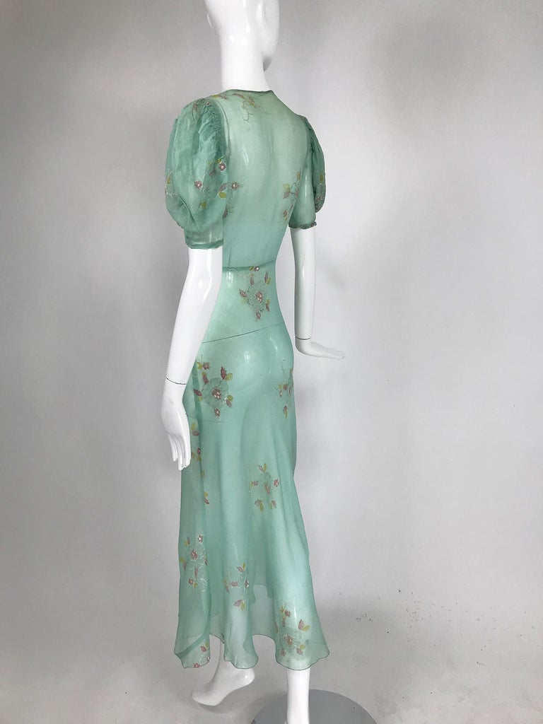 1930s Mint Green Sheer Silk Chiffon Hand Embroidered Bias Cut Maxi Dress Vintage In Good Condition In West Palm Beach, FL