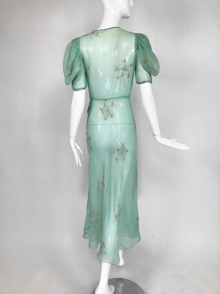 Women's 1930s Mint Green Sheer Silk Chiffon Hand Embroidered Bias Cut Maxi Dress Vintage