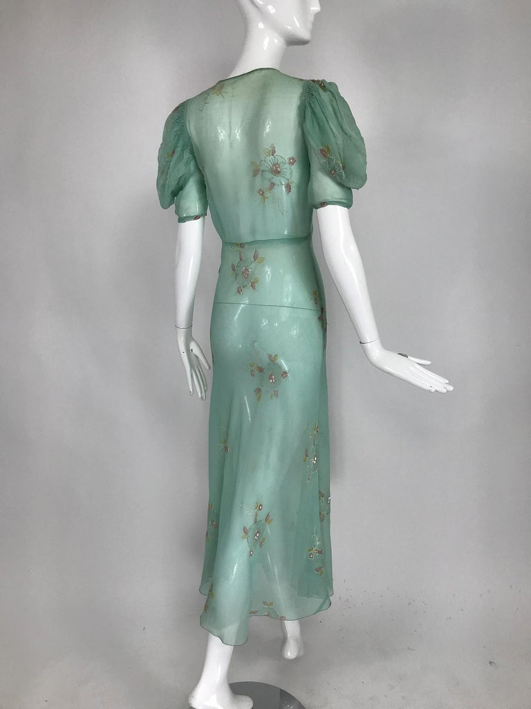 1930s Mint Green Sheer Silk Chiffon Hand Embroidered Bias Cut Maxi Dress Vintage 1