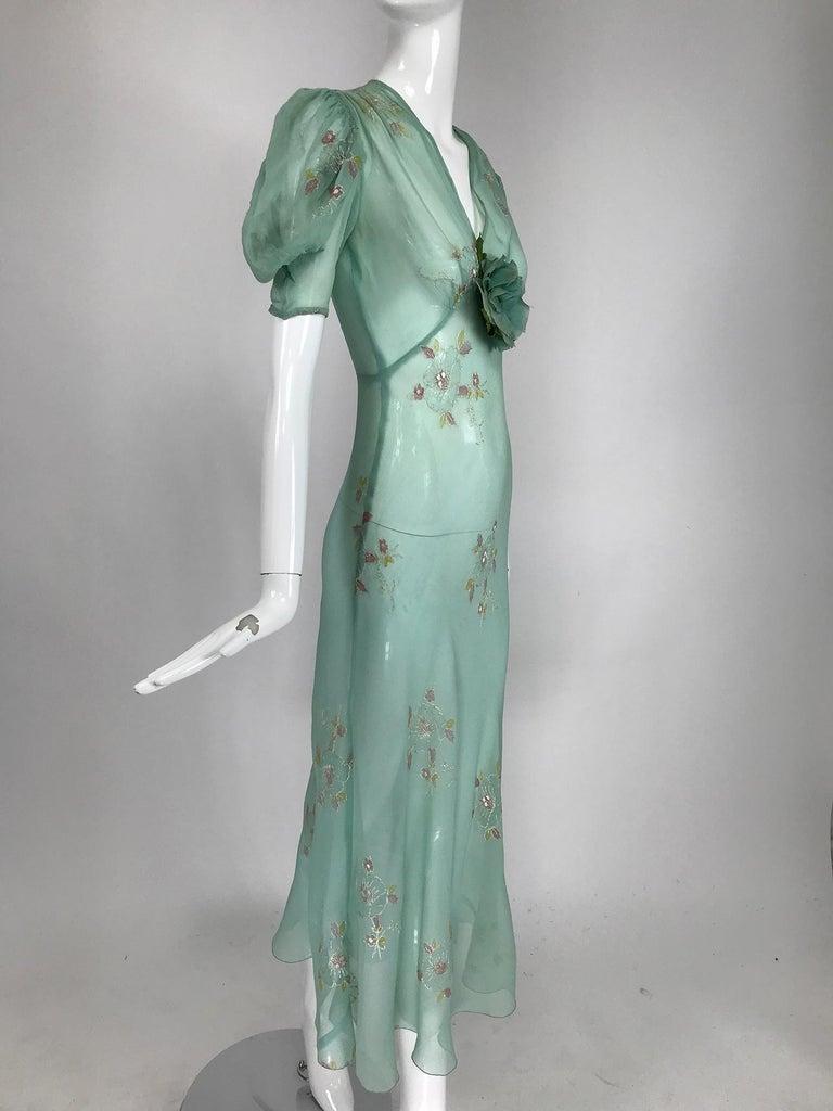 1930s Mint Green Sheer Silk Chiffon Hand Embroidered Bias Cut Maxi Dress Vintage 2