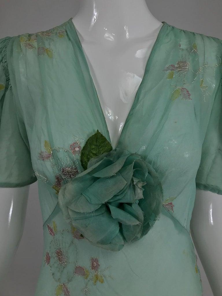 1930s Mint Green Sheer Silk Chiffon Hand Embroidered Bias Cut Maxi Dress Vintage 3