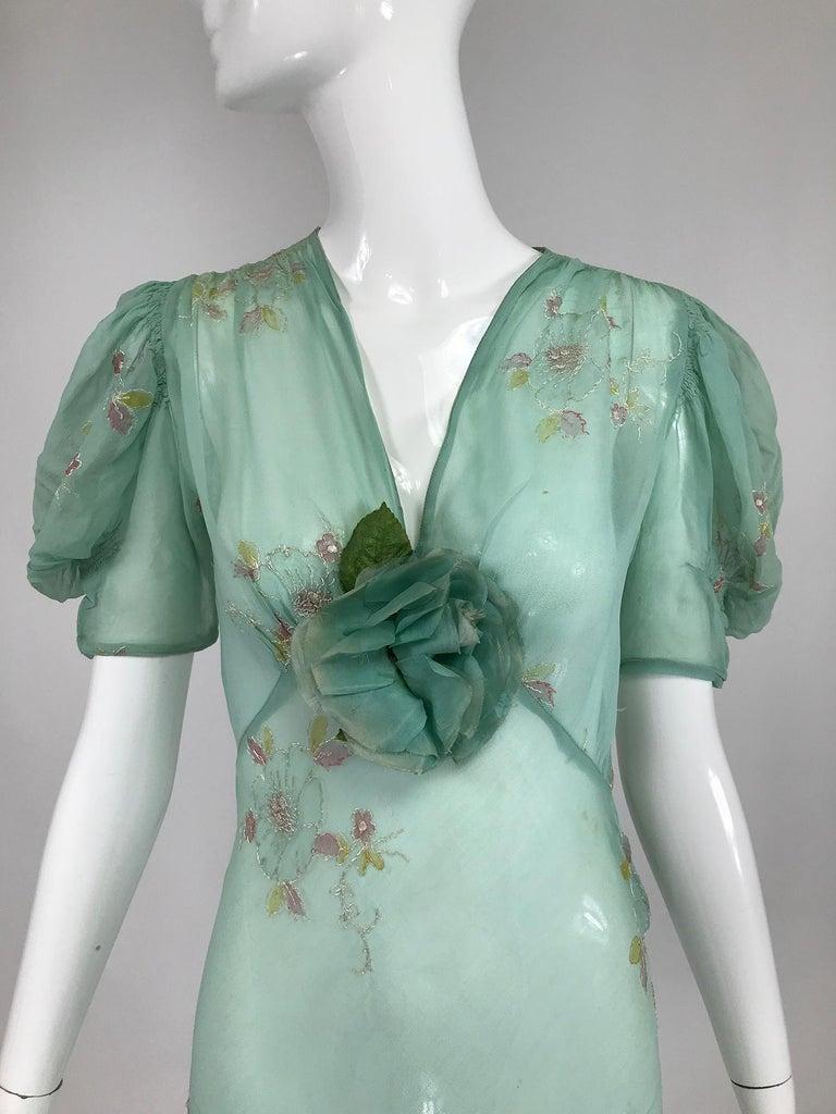 1930s Mint Green Sheer Silk Chiffon Hand Embroidered Bias Cut Maxi Dress Vintage 4