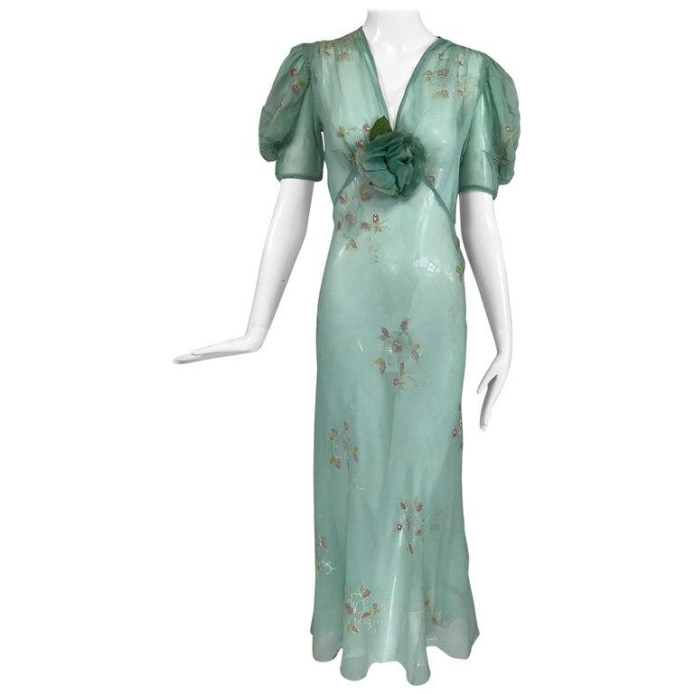 1930s Mint Green Sheer Silk Chiffon Hand Embroidered Bias Cut Maxi Dress Vintage