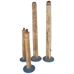1930s Modern Vintage Salvaged Architectural Wood Columns, Set of Four