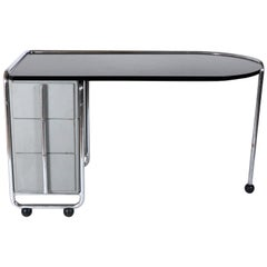 1930s Modernist Art Deco Desk by Duflot and Glorieux with Saint-Gobain Glass