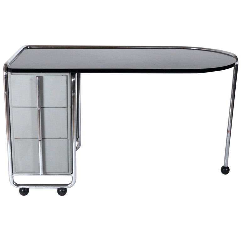 1930s Modernist Art Deco Desk by Duflot and Glorieux with Saint-Gobain Glass For Sale
