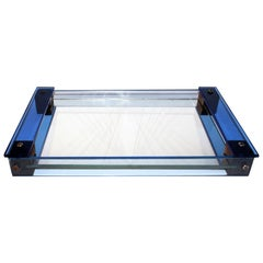 1930s Modernist Art Deco French Blue Glass Tray