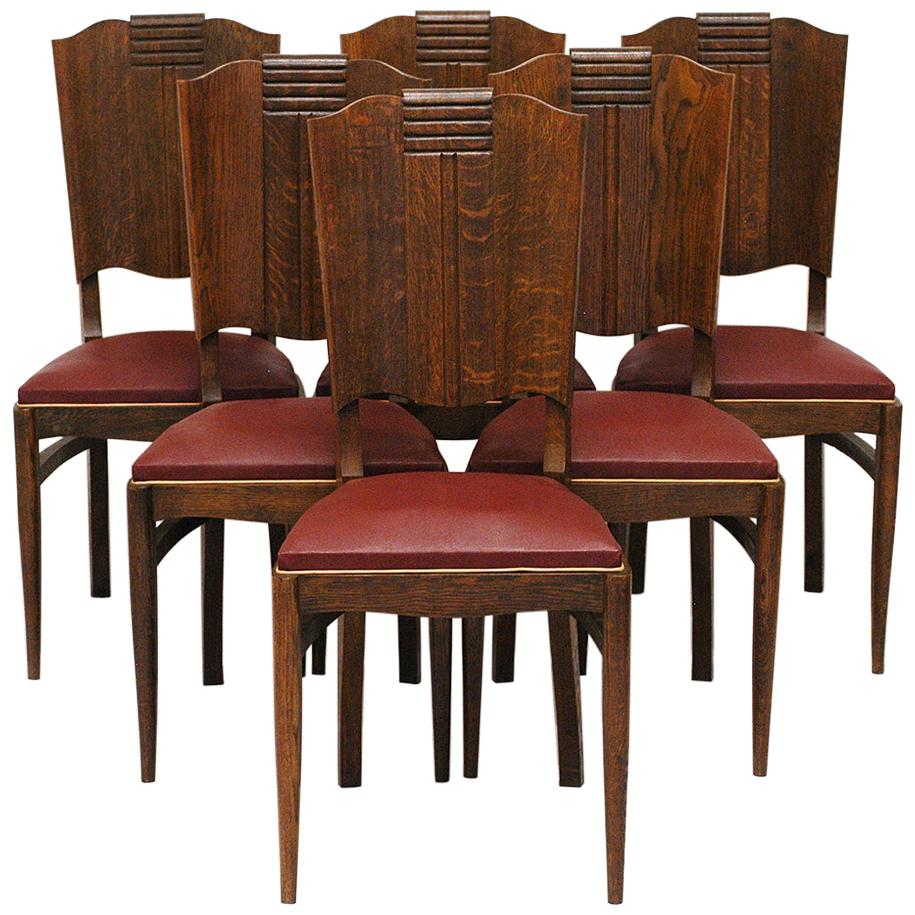 1930s 40s Modernist set of Six French Art Deco Oak Dining Chairs Charles Dudouyt