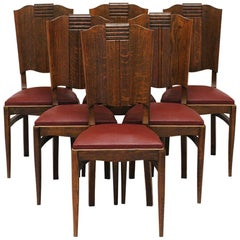 1930s Modernist set of Six French Art Deco Oak Dining Chairs