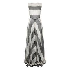 1930s Monochrome Chevron Pattern Tulle Dress