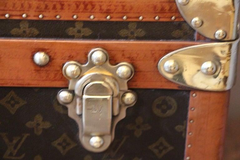 Brass 1930s Monogram Louis Vuitton Trunk For Sale