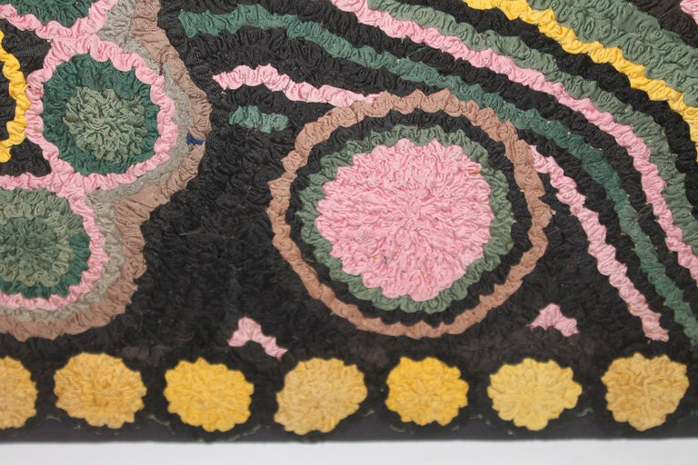 Wool 1930s Monumental Hand Hook Mounted Rug For Sale