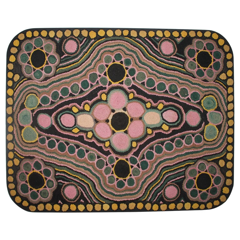 1930s Monumental Hand Hook Mounted Rug For Sale
