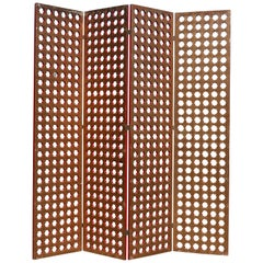 1930s Moroccan Gilt and Red Lacquer Lattice Screen