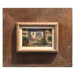 1930s Morocco, Marrakech Street Scene, Framed Orientalist Oil on Wood Painting