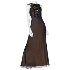 MORPHEW COLLECTION Black Silk & Poly Chiffon Gown With A Victorian Lace Collar