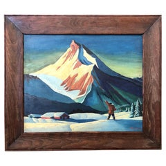 1930's Mountain Snow Scene Painting in the style of Rockwell Kent