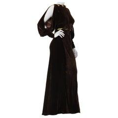 1930S Mushroom Brown & Lime Green Silk Velvet Bias Cut Batwing Bishop Sleeve Ba