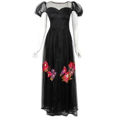 1930's Nat Cantor Floral Applique Black Net-Tulle Illusion Puff Sleeve Gown