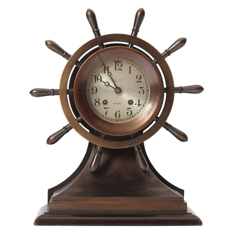1930s Nautical Clock by Chelsea Clock Company for Bigelow Kennard & Co. For Sale