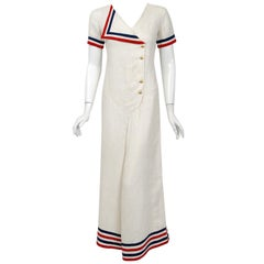 1930's Nautical Sailor Stripe Ivory Linen Art Deco Wide-Lapel Culotte Jumpsuit