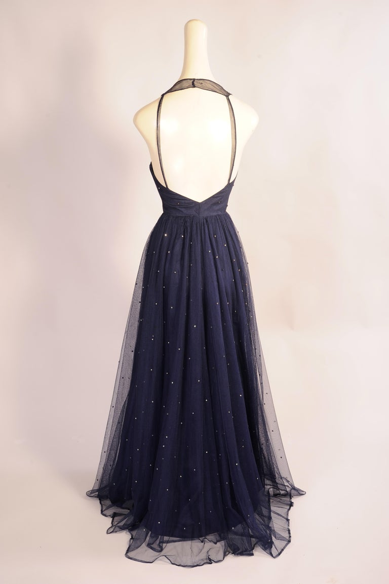 Black 1930's Navy Blue Tulle Evening Gown with Diamante Decoration For Sale