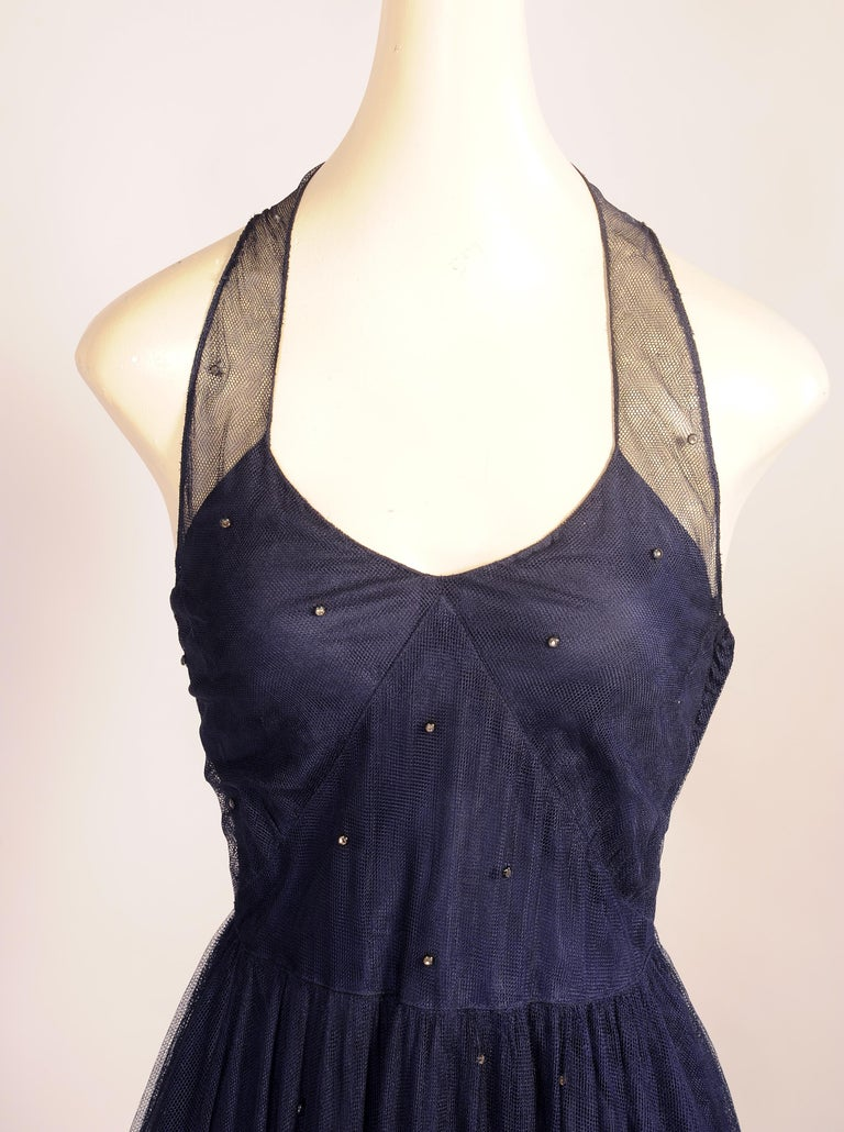 1930's Navy Blue Tulle Evening Gown with Diamante Decoration In Excellent Condition For Sale In New Hope, PA