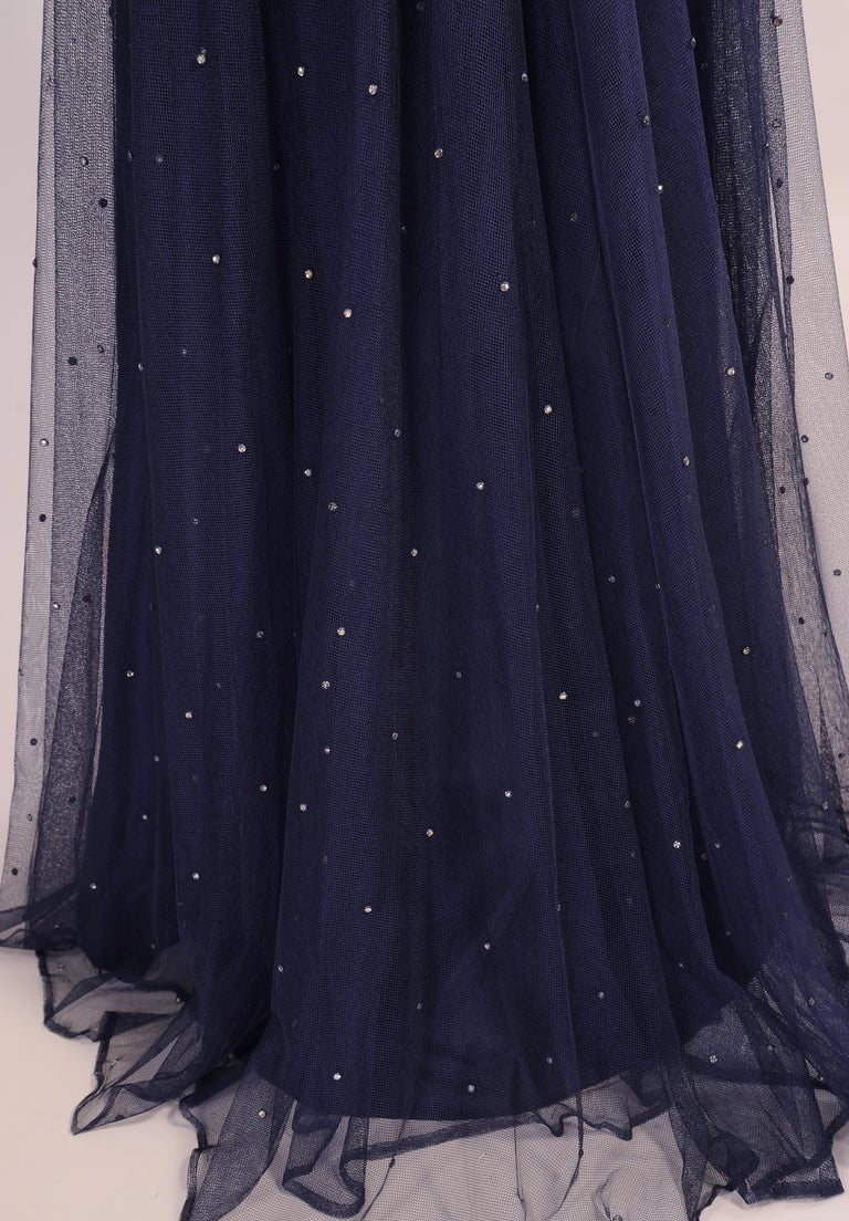 Women's 1930's Navy Blue Tulle Evening Gown with Diamante Decoration For Sale