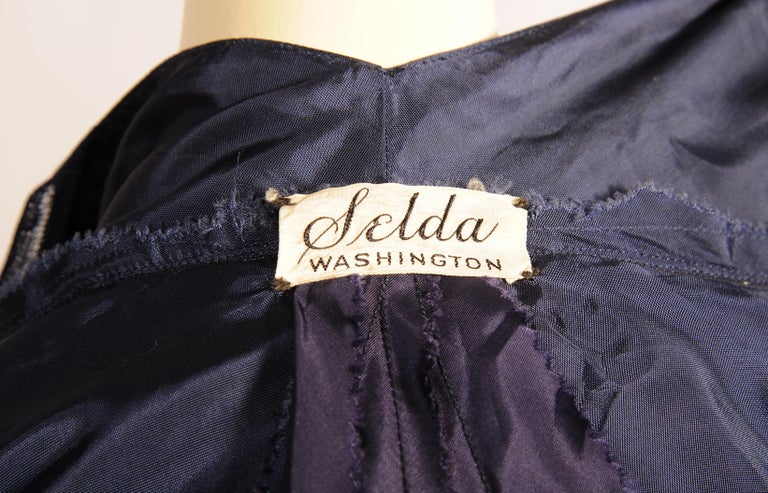 1930's Navy Blue Tulle Evening Gown with Diamante Decoration For Sale 1
