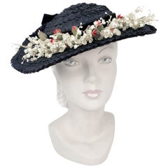 1930's Navy Straw Day Hat with Foliage Detail