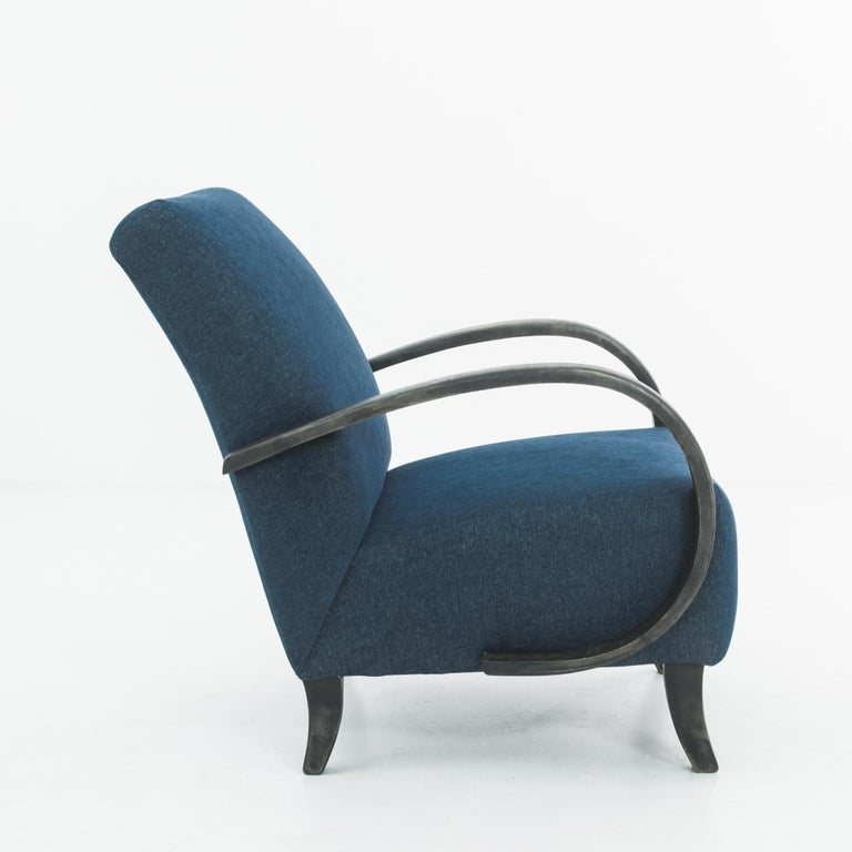 Czech 1930s Navy Upholstered Armchair by Jindrich Halabala For Sale