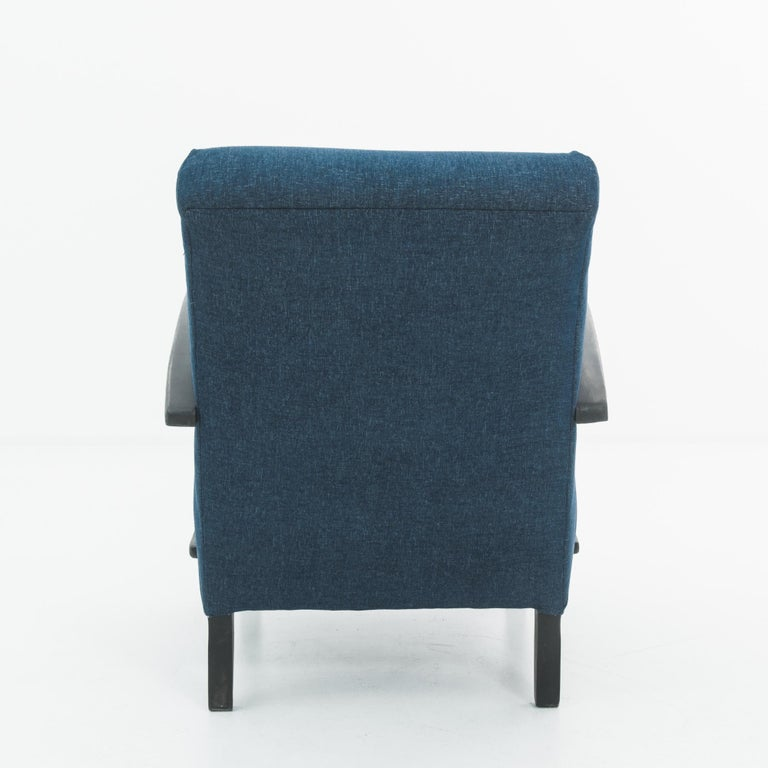 Mid-20th Century 1930s Navy Upholstered Armchair by Jindrich Halabala For Sale
